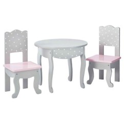 18 Doll Table And Chairs Wheelchair Logo Olivia S Little World Inch Furniture Chair Set Gray Polka Dots Target