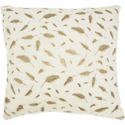 nourison fur metallic feathers faux fur ivory gold throw pillow 22 x 22
