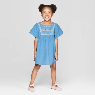 Toddler Girls' Embroidered Dress - art class™ Blue