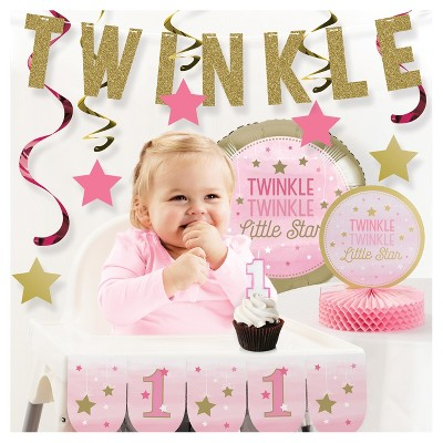 One Little Star Girl 1st Birthday Party Decorations Kit
