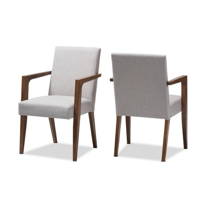 Set of 2 Andrea Mid - Century Modern Upholstered Wooden Armchair - Greyish Beige - Baxton Studio