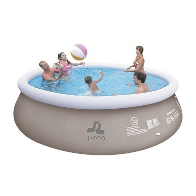 Pool Central 18' Inflatable Above Ground Round Prompt Swimming Pool Set - Gray/White