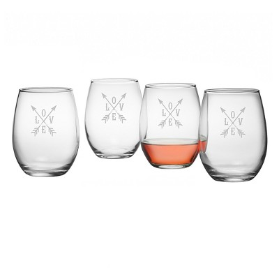 Susquehanna 21oz Glass Love Stemless Wine Glasses - Set of 4