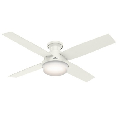 """52"""" Dempsey Low Profile with Light Fresh White Ceiling Fan with Light with Handheld Remote - Hunter Fan"""