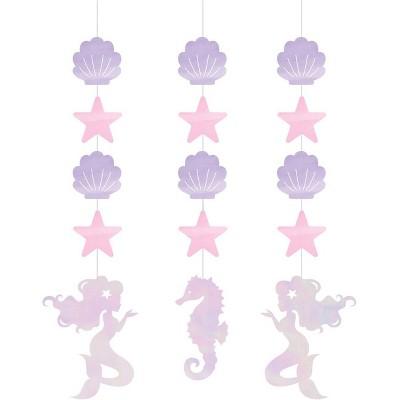 3ct Mermaid Print Iridescent Party Hangers