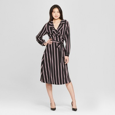 Women's Long Sleeve Ruffle Wrap Midi Dress - Who What Wear™
