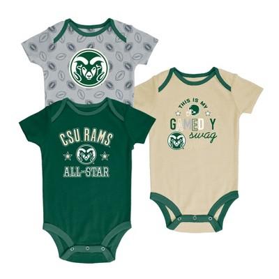 Colorado State Rams Baby Boy Short Sleeve 3pk Bodysuit