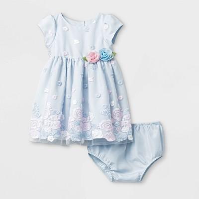 Mia & Mimi Baby Girls' Border Embroidered Dress - Blue