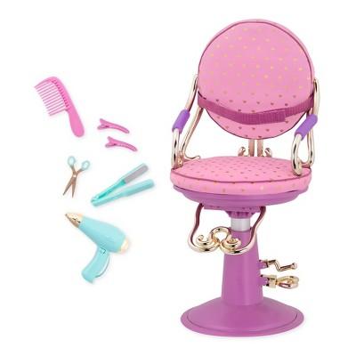 doll salon chair swivel sofa our generation sitting pretty gold hearts purple base target