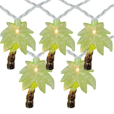Northlight 10 Green Tropical Palm Tree Patio String Lights - 7.25ft White Wire