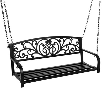best choice products 2 person metal outdoor porch swing hanging steel patio bench w floral accent black