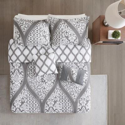 5pc Renia Reversible Print Duvet Cover Set Gray