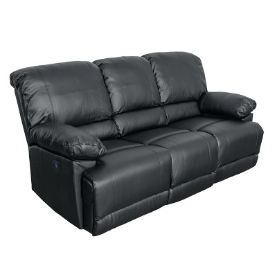 Lea Bonded Leather Power Reclining Sofa with Usb Port - CorLiving