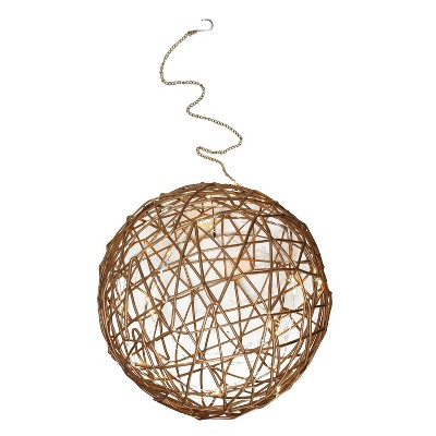 """Northlight 10"""" Warm White LED Lighted Wire Ball Christmas Ornament - Brown"""