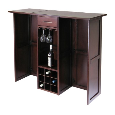 Folding Wine Bar Wood/Walnut - Winsome