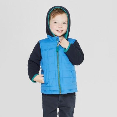 Genuine Kids® from OshKosh Toddler Boys' Super Cozy 2-in-1 Fleece Hoodie Vest - Black/Blue