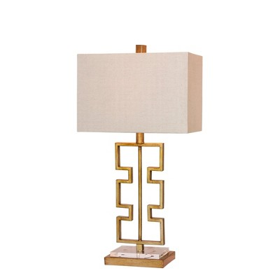 Stacked Modern Cut Out Antique Metal & Clear Acrylic Table Lamp Gold (Lamp Only) - Fangio Lighting
