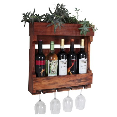 """21"""" Wall Mounted Wine Rack with Succulent Planter Western Clear Oil Finish - Red Cedar - Gronomics"""