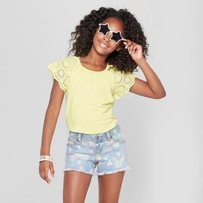 Girls' Short Sleeve Eyelet Sleeve T-Shirt - Cat & Jack™ Yellow