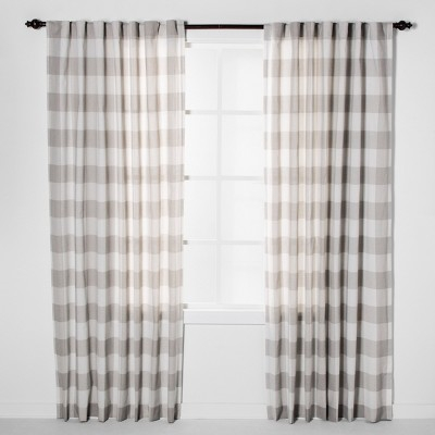 Plaid Light Filtering Curtain Panels Gray - Threshold™