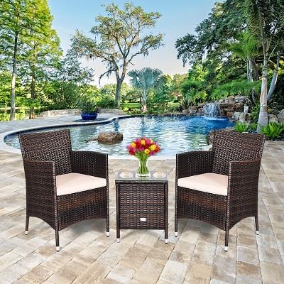 costway outdoor 3 pcs pe rattan wicker furniture sets chairs coffee table garden beige
