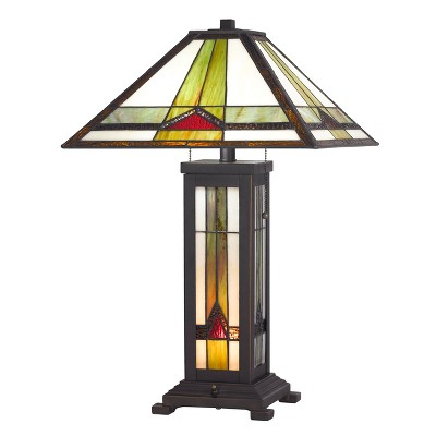 60W X 2 Tiffany Table Lamp With 7W Night Light Dark Brown (Includes Energy Efficient Light Bulb) - Cal Lighting