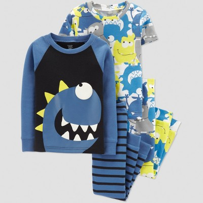 Baby Boys' 4pc Monster Pajama Set - Just One You® made by carter's Blue