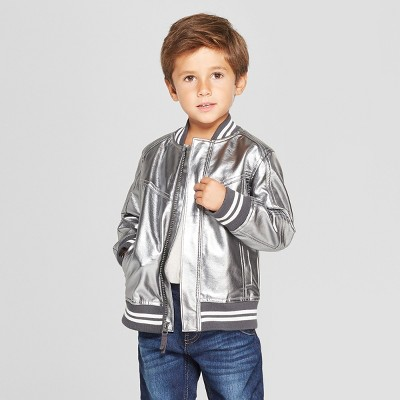 Genuine Kids® from OshKosh Toddler Boys' Metallic Bomber Jacket - Silver