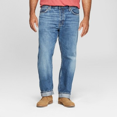 Men's Tall Slim Straight Fit Selvedge Denim Jeans - Goodfellow & Co™ Bright Blue