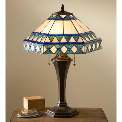 Camden Tiffany Table Lamp With Pull Chains And Weighted Resin Base - Plow & Hearth