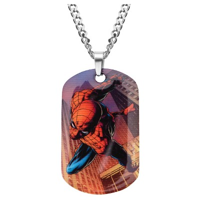 "Men's Marvel® Spider-Man Graphic Stainless Steel Dog Tag Pendant with Chain (24"")"