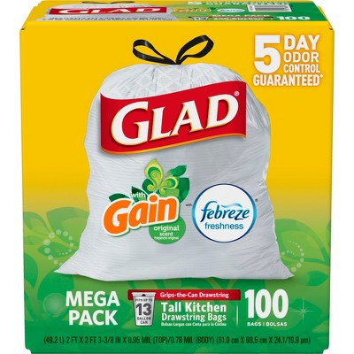 glad kitchen trash bags floor mats washable odorshield febreze freshness scented tall drawstring 100ct target