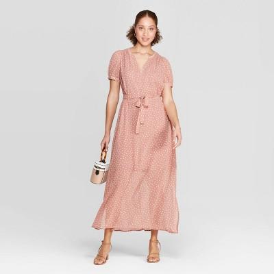Women's Polka Dot Casual Fit Cap Sleeve Deep V-Neck Chiffon Maxi Dress - A New Day™ Dark Pink