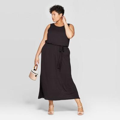 Women's Plus Size Sleeveless Scoop Neck Knit Maxi Dress - Ava & Viv™