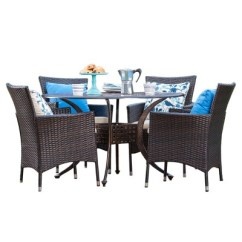 Round Wicker Chair Vintage Oak Dining Chairs Elk 5pc Metal Patio Set W All Weather Shiny Copper Brown Christopher Knight Home Target