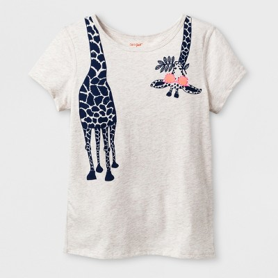 Girls' Adaptive Short Sleeve Giraffe Graphic T-Shirt - Cat & Jack™ Brown