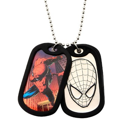 """Men's Marvel® Spider-Man Double Stainless Steel Dog Tag and Rubber Silencers (22"""")"""