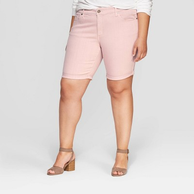 Women's Plus Size Mid-Rise Jean Shorts - Universal Thread™ Pink
