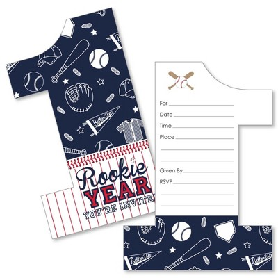 big dot of happiness 1st birthday batter up baseball shaped fill in invitations first birthday party invitation cards with envelopes set of 12