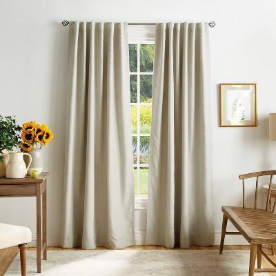 set of 2 84 x50 bedford woven plaid blackout curtain panels off white martha stewart