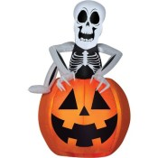 Airblown Pop-Up Skeleton Pumpkin Halloween Inflatable Holiday Decoration