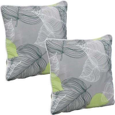 2pc 16 square indoor outdoor decorative throw pillow set lush foliage sunnydaze decor