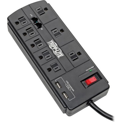 Tripp Lite Surge Protector 8-Outlet 2 USB Charging Ports Tel/Modem 8ft Cord