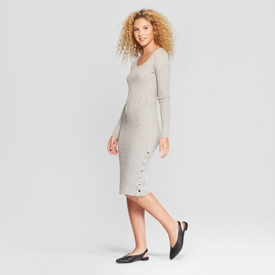 Women's Long Sleeve Side Snap Rib Midi Dress - Almost Famous (Juniors') Gray