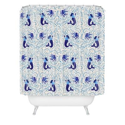 Ocean Creatures Shower Curtain Blue - Deny Designs