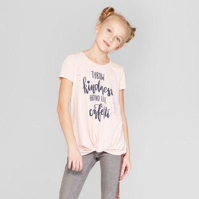 Girls' Twist Front Short Sleeve Graphic T-Shirt - art class™ Pink