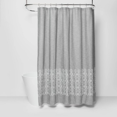 embroidered shower curtain gray threshold
