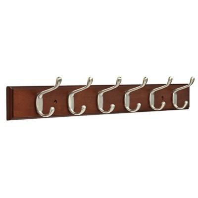 "26.51"" Rail with 6 Heavy Duty Coat & Hat Hooks Bark Satin Nickel - Franklin Brass"