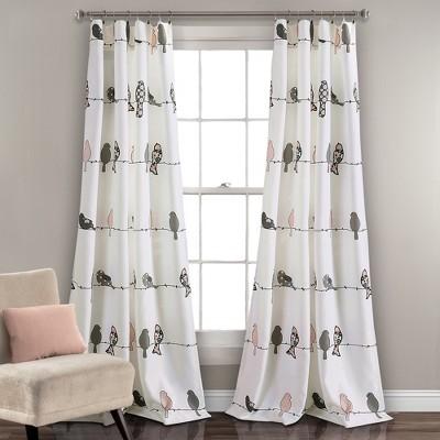 "Rowley Birds Room Darkening Window Curtain Panels Blush/Gray Set 52""X84""+2 - Lush Decor"
