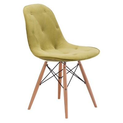modern green dining chairs recliner chair for small person wood and velour zm home target